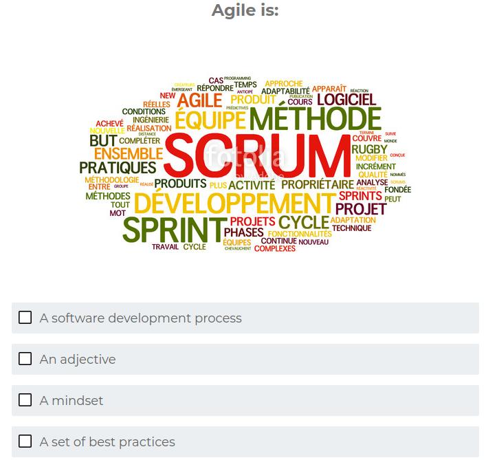 Question 1 du quiz Agile Quiz – Test your Agile knowledge!